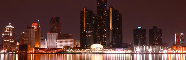 Detroit night skyline new
