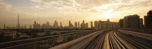Dubai metro at sunset resized