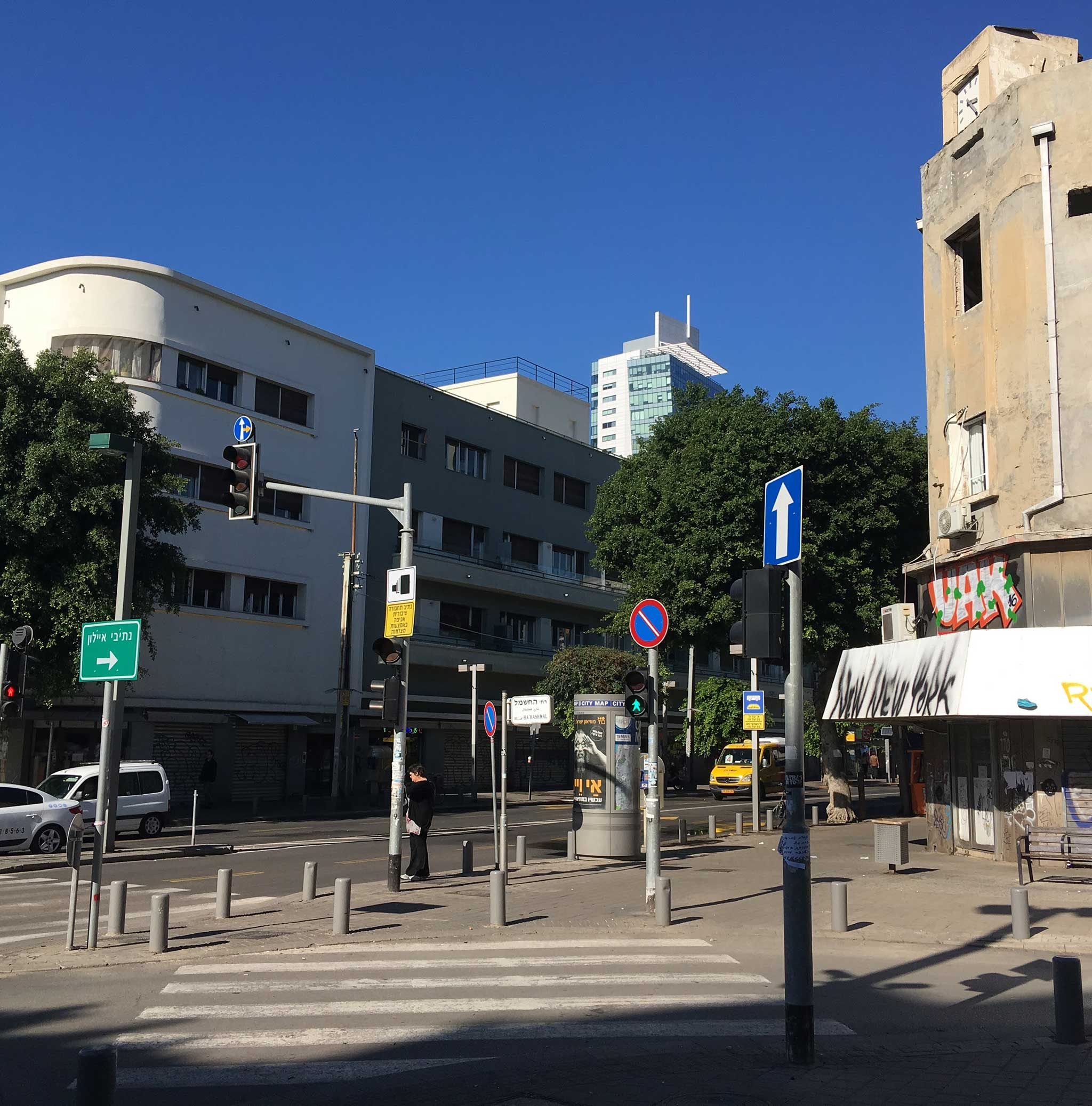 Cross to HaMoshavot Square on Tel Aviv audio tour The Electrifying Story of Gan HaHashmal and Its Architecture