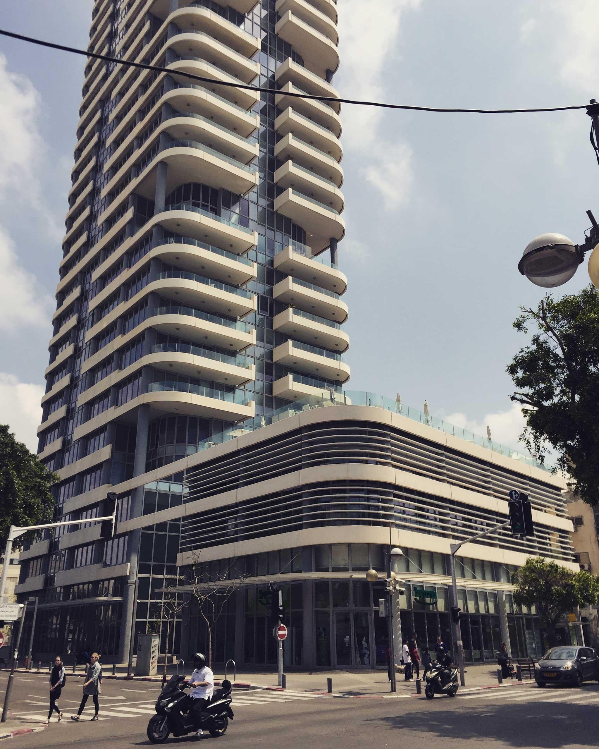Frishman Tower on Tel Aviv audio tour The White City