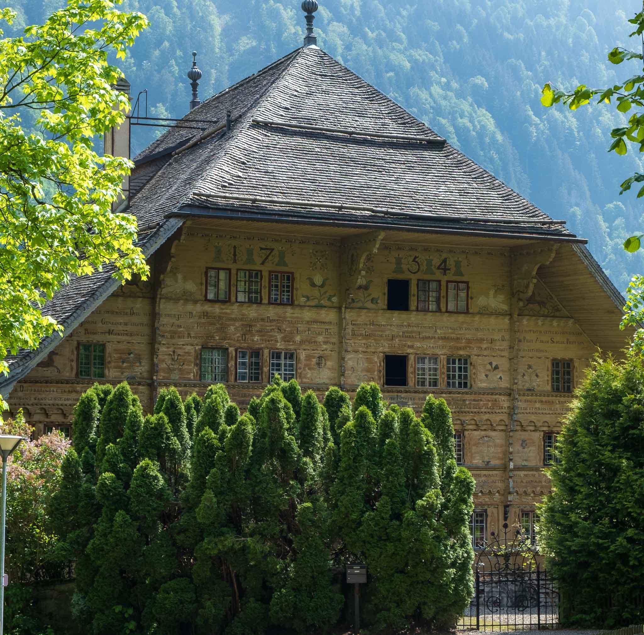 Front of the Grand Chalet on Rossinière audio tour Cowbells, Chalets and Balthus: A Swiss Alpine Village Excursion