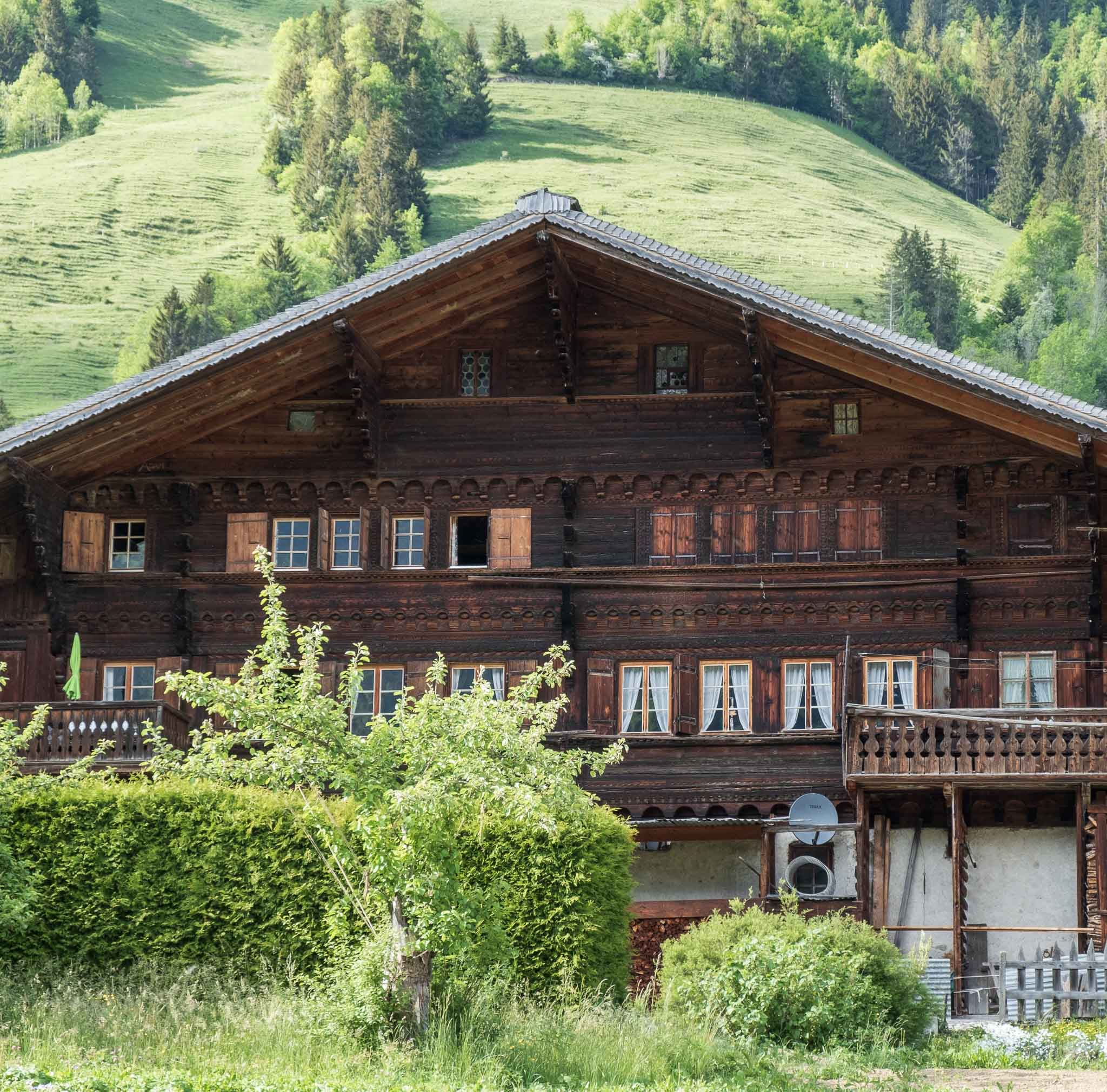 View on Maison de la Place  on Rossinière audio tour Cowbells, Chalets and Balthus: A Swiss Alpine Village Excursion