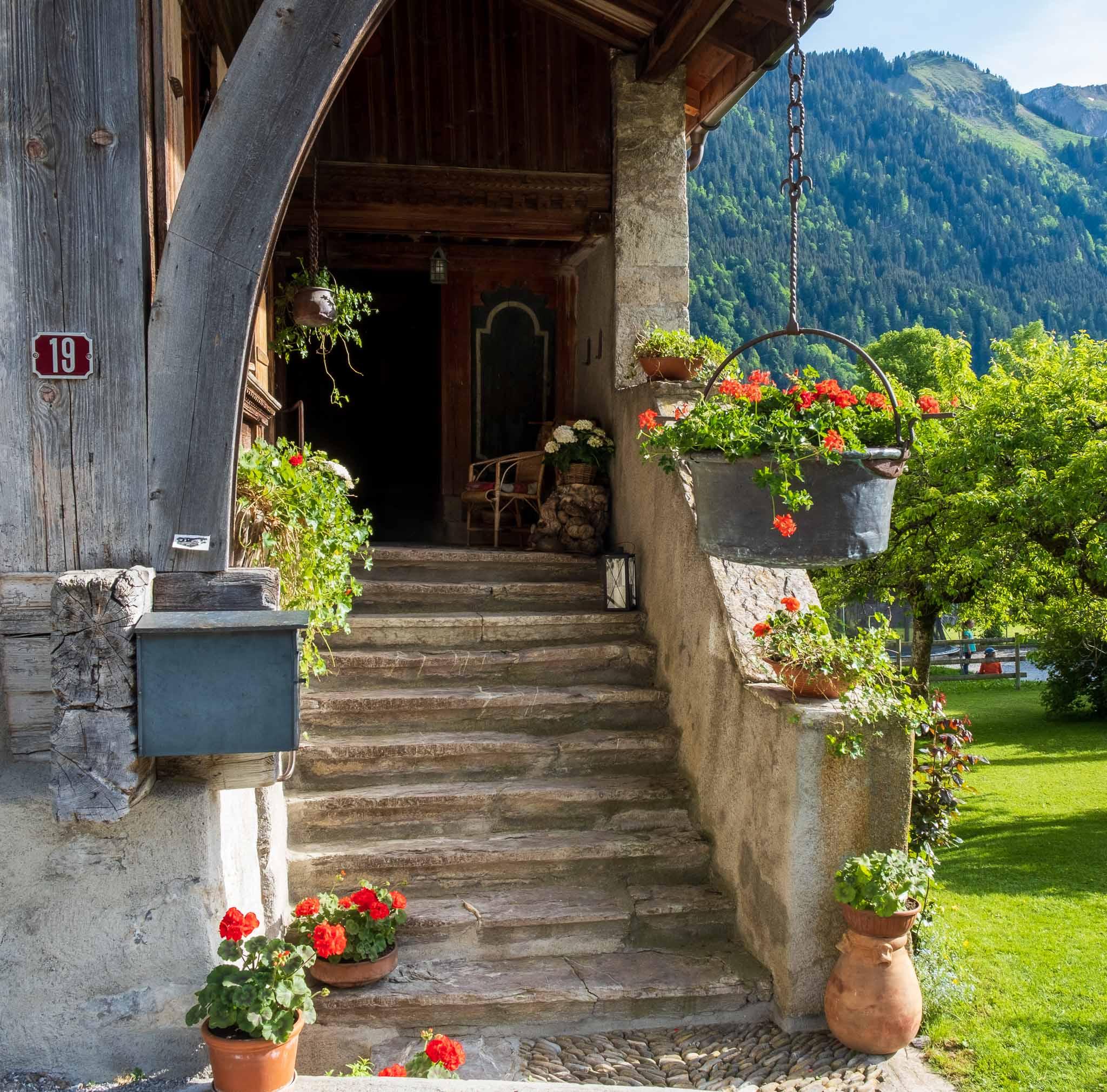 Behind Maison de la Place on Rossinière audio tour Cowbells, Chalets and Balthus: A Swiss Alpine Village Excursion