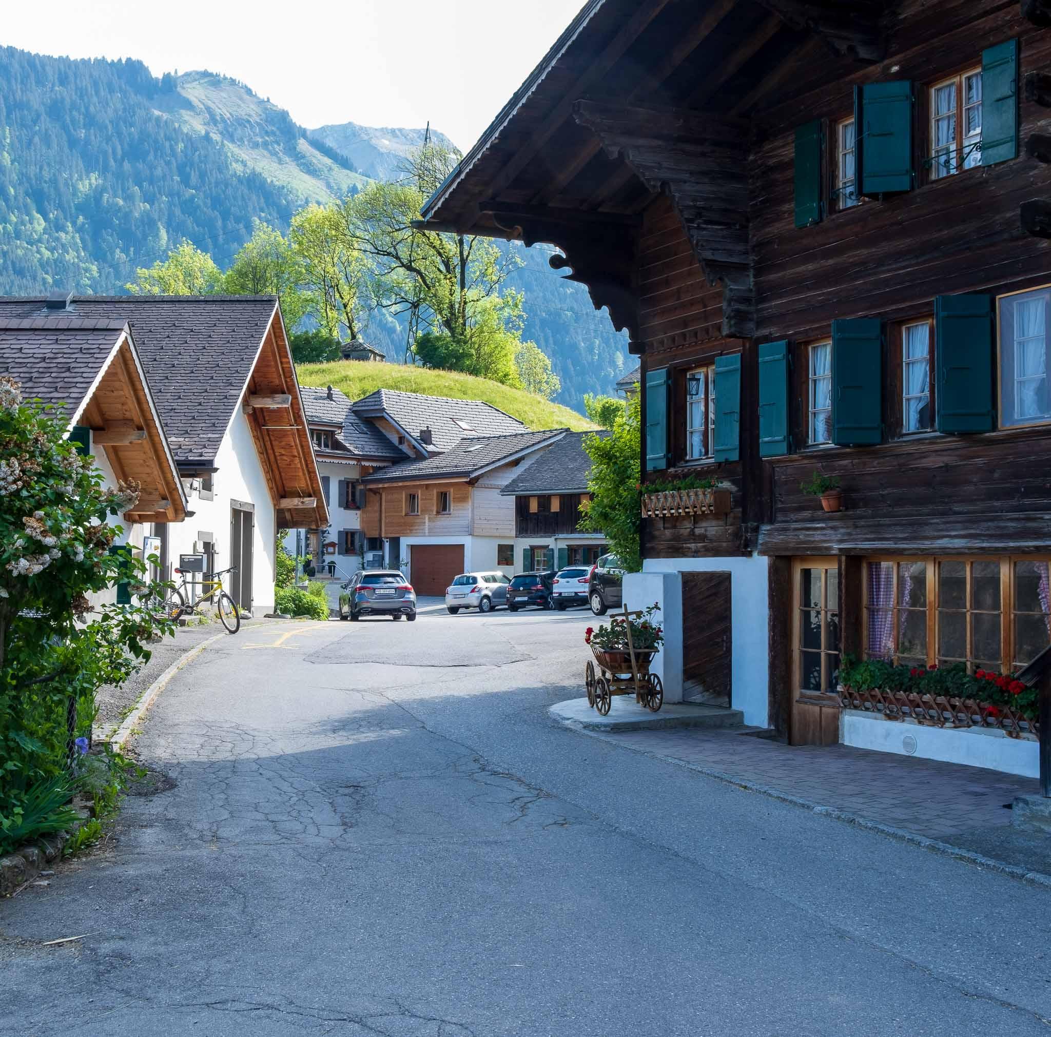 La Placette, the village square on Rossinière audio tour Cowbells, Chalets and Balthus: A Swiss Alpine Village Excursion