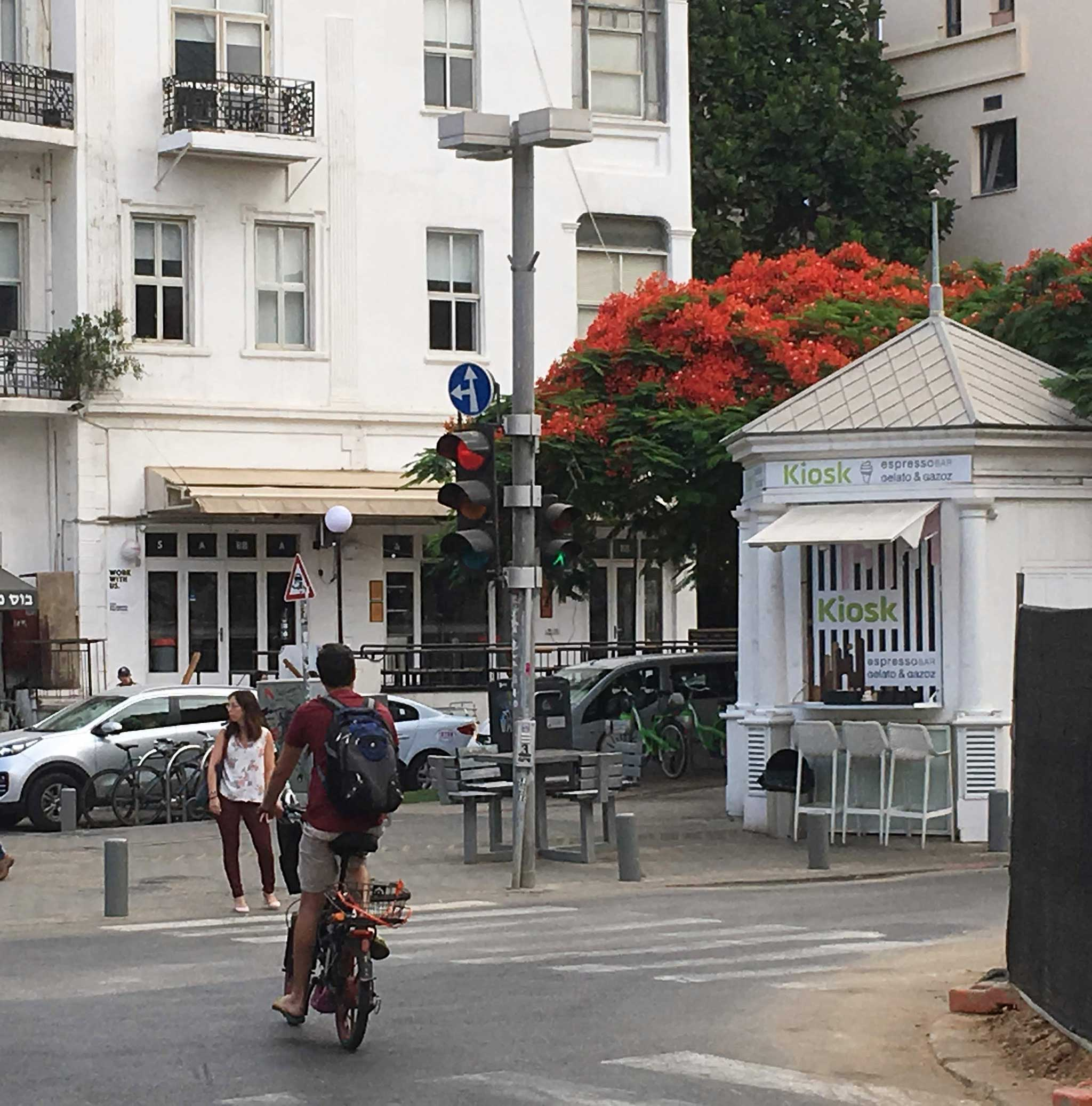 Cross Herzl St on Tel Aviv audio tour The Trail of Independence: Tracing the origins of modern Tel Aviv
