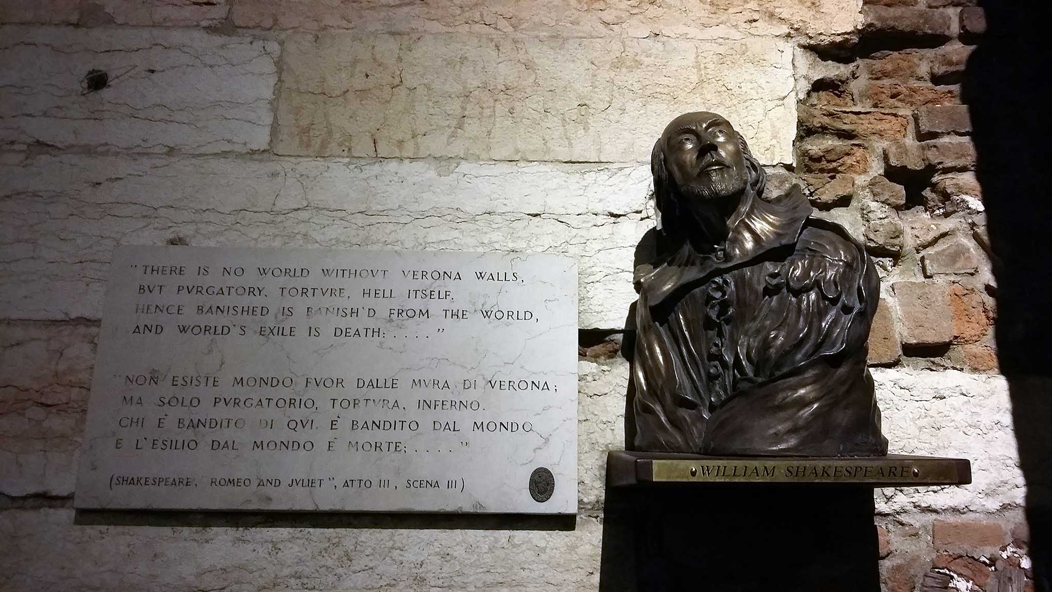 Shakespeare's half-bust on Verona audio tour A stroll through the city of Romeo and Juliet